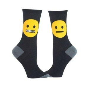 Hot Sox Smiley Crew Socks, Black, OS